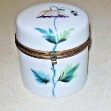 1890s Paris Hand Painted Single Flower Porcelain Vanity Dresser Jar Brass Hinged