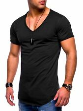 Fashion Men's Slim V Neck Short Sleeve Muscle Tee T-shirt Casual Fit Tops Blouse