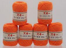 VINTAGE Ski yarn bright orange M-12 6 SKEINS knit crochet sewing