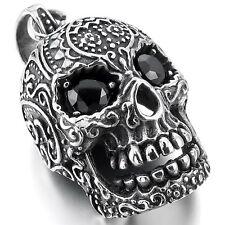 MENDINO Men's 316L Stainless Steel Pendant Necklace CZ Skull Embossed Black Punk