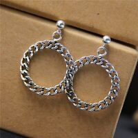 Pure S925 Sterling Silver Stud Retro Curb Link Chain Round Dangle Earrings