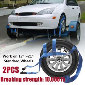2X Car Basket Tiedown Straps Tire Tow Dolly Wheel Net Set Flat Hooks Heavy Duty