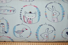 Woodland/Farm Animals Light Jersey Knit T-Shirt Fabric by Poppy By the 1/2 Metre