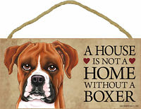 A house is not a home without a Boxer Wood Puppy Dog Sign Plaque Made in USA
