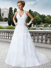2017 White/Ivory Halter Lace Wedding Dress Corset Back Bridal Gown Custom Size