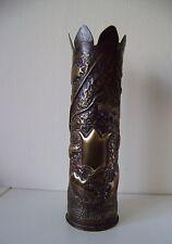 Vintage 1st World War 1914-18 Brass Trench Art Oak Leaf & Acorn Decorated Vase