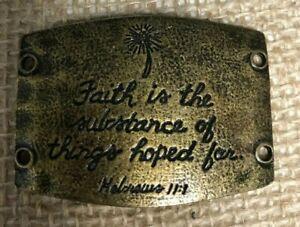 Lenny & Eva New Sentiment Large Antique Brass Hebrews 11:1 Faith in Action