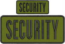 Security embroidery patch 4X10 and 2.x5 hook OD GREEN fabric