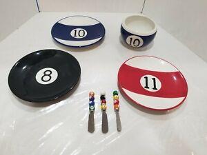 SET OF 7 Sonoma Fun & Games Spreaders Snack Plates Billiard Pool Balls #8, 10,11