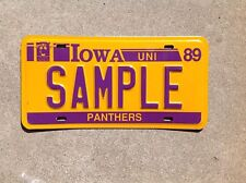 """1989 - """"UNIVERSITY OF NORTHERN IOWA PANTHERS"""" - SAMPLE LICENSE PLATE"""