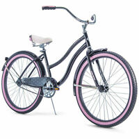 "Huffy 26"" Women's Cranbrook Beach Cruiser Bike with Perfect Fit Frame Black Pink"