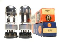 Matched PAIR 7F7 Tube Sylvania NOS Black Round Plate Dual Triode loktal 6SL7GT