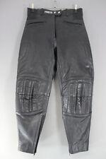 ASHMAN BLACK COWHIDE LEATHER BIKER TROUSERS SIZE 14 - WAIST 30IN/INSIDE LEG 27IN