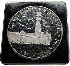 1976 Innsbruck Buildings WINTER Olympic Games AUSTRIA Proof SILVER Coin i60629