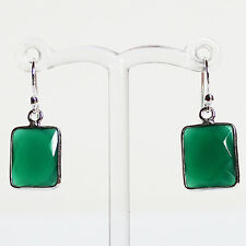 925 Sterling Silver Semi-Precious Natural Stone Green Onyx Drop Earrings
