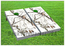VINYL WRAPS CORNHOLE BEANBAG Board DECALS Real Tree White Snow Camo Set 890
