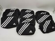 """10 Piece Adidas Zippered Small Travel Black White 7.5""""L Athletic Team Bag NEW"""