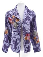 Coldwater Creek Womens 100% Silk Embroidered Blazer Jacket Purple Sz Large