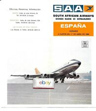 SOUTH AFRICAN AIRWAYS ESPANA/SPAIN TIMETABLE 4-1-80 747-200 COVER/AIRCRAFT TYPE
