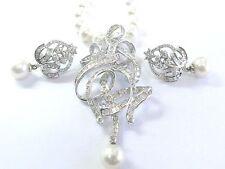 Fino Baguette & Diamante Redondo Collar de Perlas/Pendientes 4.65CT 6.5mm-7mm