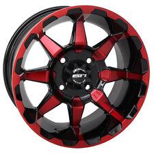 "Set of (4) 12"" STI HD6 Red Orange Blue Aluminum Golf Cart Car Rim Wheels"