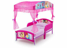 Princess Little Girls Canopy Toddler Bed Sturdy Pink Side Rails Easy Assembly