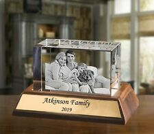 Personalised Crystal Paperweight Laser Engraved w/ Wooden Base Cherishable Gift