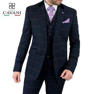 Mens Cavani Navy Tweed Blazer Waistcoat Trousers 3 Piece Suit Jacket Coat