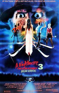 A NIGHTMARE ON ELM STREET 3 DREAM WARRIORS Movie Poster Horror Freddy Krueger