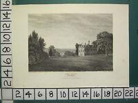 1813 Datierter Antik Aufdruck ~ Grautöne Court ~ Oxfordshire Seat Von Lady