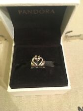 Genuine PANDORA Charm Two Tone Swan Embrace/14K Yellow Gold With Box