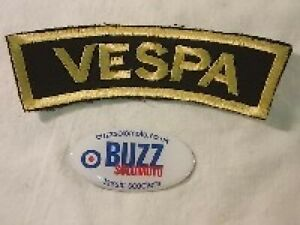 Vespa Logo Embroidered Sew On Arm Patch Badge Black Gold 005678