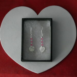 Earrings With Pink Crystal & Heart Mother Of Pearl 3.4 Cm. Long + Hooks