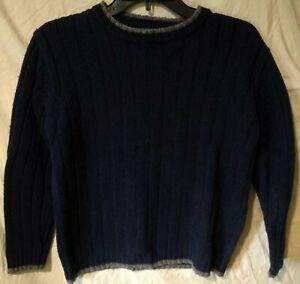 Cherokee Classic Ribbed Wool-Blend Sweater/Shirt-Navy Blue/Gray-Large 10/12