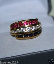 Ross Simons Red White Blue USA Flag colors 18k yellow gold/sterling silver Ring