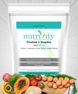 Choline & Inositol 1000mg Tablets Supplement for Brain Health Mood Nutrivity UK
