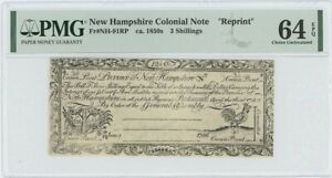 1755/6 New Hampshire 3 Shilling NH-91 PMG CU64 EPQ c. 1850 Cohen Reprint