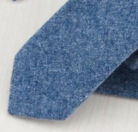 Vintage Blue Mens Soft Cotton Skinny Tie. Excellent Quality & Reviews. UK.