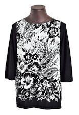 New $160 Ralph Lauren Women's Plus 1X  Floral Top Cotton Blend Black/White NWT