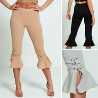 SALE Women Ruffle Bottom Frill Cropped Lace Up Tie Palazzo Trousers Leggings