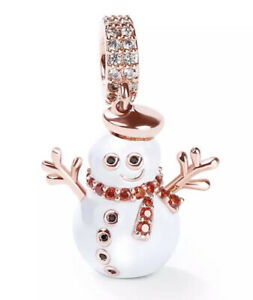 🦋💜 STERLING SILVER 925 ROSE GOLD pl CHRISTMAS SNOWMAN GOLD SCARF CHARM & POUCH