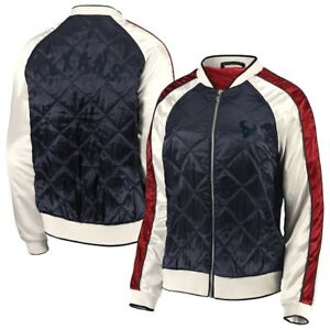 Women's Houston Texans WEAR By Erin Andrews Navy Quilted Full-Zip Bomber Jacket
