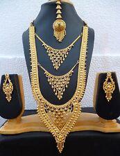 22K Gold Plated Designer Indian Wedding 11'' Long Necklace Earrings Tikka set l