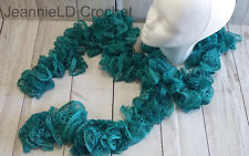 Handmade Crocheted Fashion Ruffle Scarf - Teal