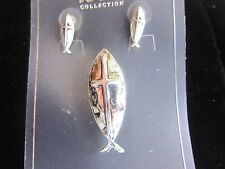 Fish with Cross Pendant, Earring Set Hammered Silver tone
