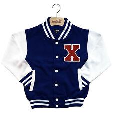 infantil Chaqueta Beisbol Varsity personalizado con verdadero Uni Letra X