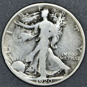 1920 50c WALKING LIBERTY SILVER HALF DOLLAR, GRADE G, SKU-2398