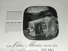 1948 Bell & Howell ad, Filmo movie cameras, 8mm, 16mm