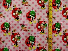 DISNEY MINNIE MOUSE SMELL THE FLOWERS PRINT 100% COTTON FABRIC BY THE 1/2  YARD