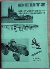 Deutz Schlepper D 40 L Bedienungsanleitung